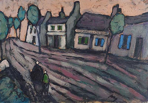 EVENING IN THE VILLAGE by Markey Robinson at Ross's Online Art Auctions