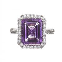 9CT WHITE GOLD AMETHYST AND DIAMOND RING at Ross's Jewellery Auctions