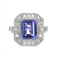 18CT WHITE GOLD DIAMOND AND TANZANITE RING at Ross's Jewellery Auctions