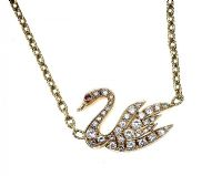 18CT GOLD DIAMOND-SET SWAN NECKLACE at Ross's Jewellery Auctions