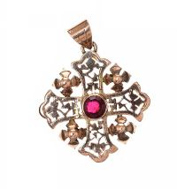 14CT GOLD CROSS WITH RED CRYSTAL at Ross's Jewellery Auctions
