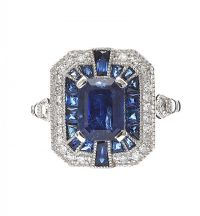 PLATINUM ART DECO STYLE SAPPHIRE AND DIAMOND RING at Ross's Auctions