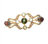 15CT GOLD MULTI-GEM BROOCH at Ross's Jewellery Auctions