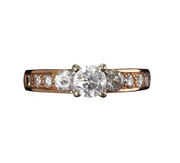 18CT ROSE GOLD DIAMOND RING at Ross's Online Art Auctions