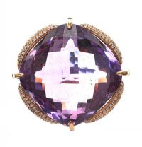 18CT ROSE GOLD RING SET WITH AMETHYST AND DIAMOND at Ross's Jewellery Auctions