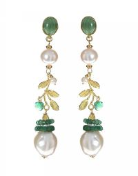 18CT GOLD EMERALD AND PEARL DROP EARRINGS at Ross's Jewellery Auctions