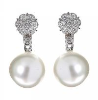 18CT WHITE GOLD SOUTH SEA PEARL AND DIAMOND EARRINGS at Ross's Auctions