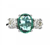 18CT WHITE GOLD EMERALD AND DIAMOND THREE STONE RING at Ross's Jewellery Auctions