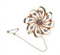 VINTAGE TIFFANY & CO. 14CT GOLD SAPPHIRE BROOCH at Ross's Auctions