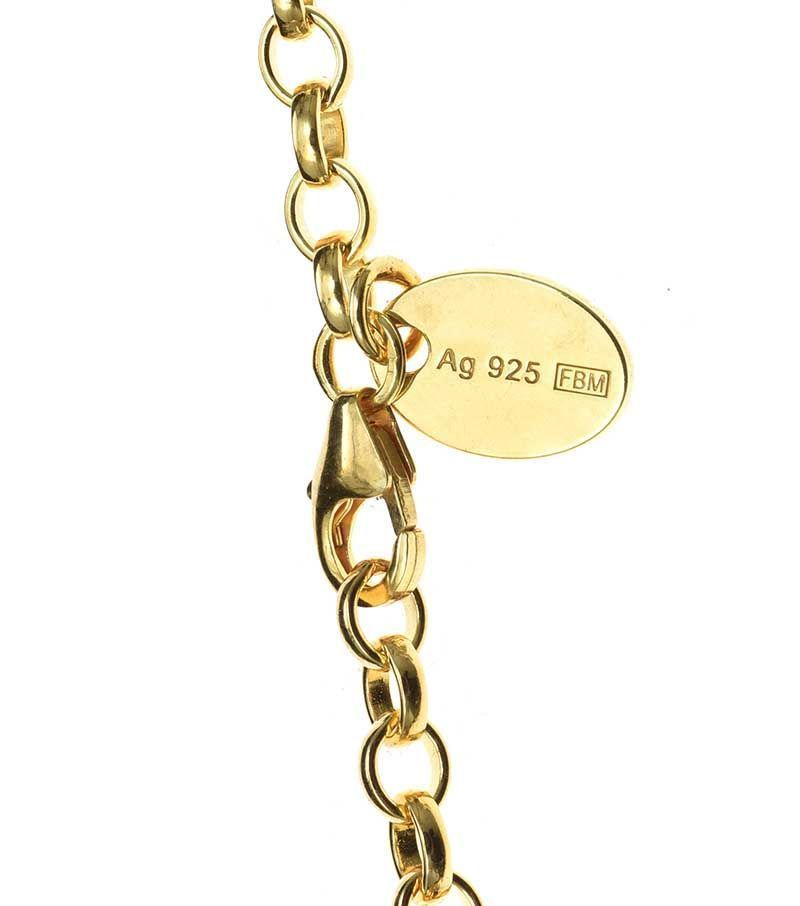 GOLD-PLATED STERLING SILVER BRACELET WITH CUBIC ZIRCONIA-SET CHARM at Ross's Online Art Auctions
