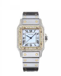 'SANTOS DE CARTIER' STAINLESS STEEL AND 18CT GOLD DIAMOND-SET LADY'S WRIST WATCH at Ross's Jewellery Auctions