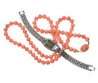 FAUX CORAL BEADS AND EMPORIO WATCH at Ross's Jewellery Auctions