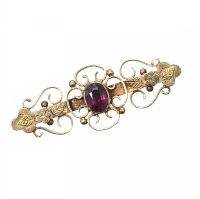 9CT GOLD AMETHYST BAR BROOCH at Ross's Jewellery Auctions