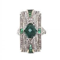 18CT WHITE GOLD COCKTAIL RING SET WITH EMERALD AND DIAMOND at Ross's Jewellery Auctions
