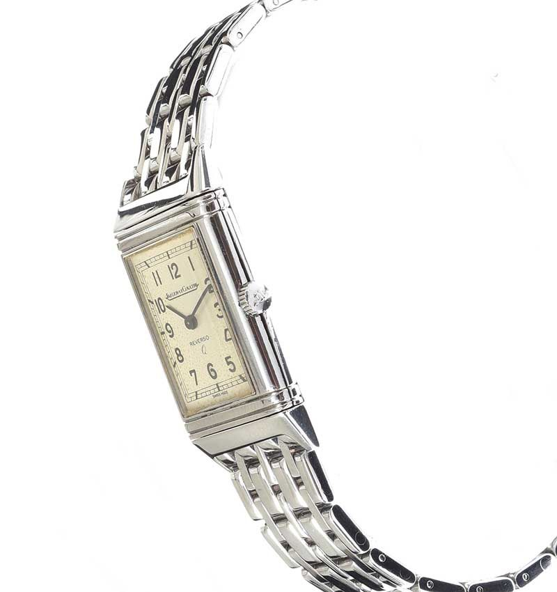 JAEGER LE COULTRE 'REVERSO Q' STAINLESS STEEL LADY'S WRIST WATCH at Ross's Online Art Auctions