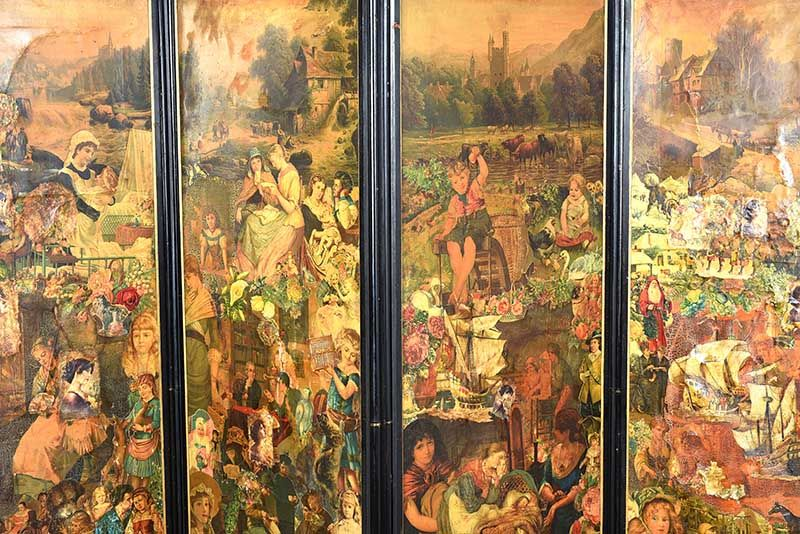 VICTORIAN FOUR FOLD SCREEN at Ross's Online Art Auctions