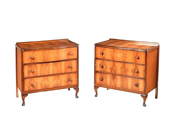 PAIR OF WALNUT THREE DRAWER CHESTS at Ross's Online Art Auctions