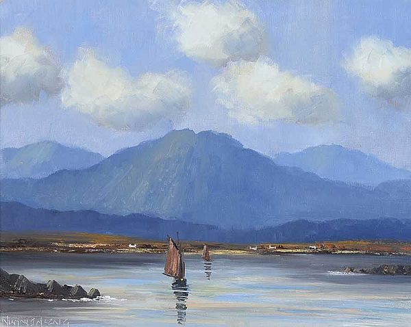 CONNEMARA TURF BOATS by Norman J.  McCaig at Ross's Online Art Auctions