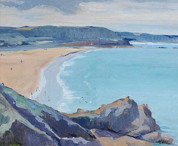 A SUMMERS DAY ON THE BEACH by Anne Primrose  Jury HRUA at Ross's Online Art Auctions