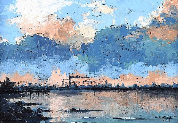 LOUGH & QUAY TO BELFAST by Colin H. Davidson at Ross's Online Art Auctions