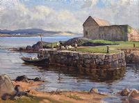 UNLOADING THE CATCH, DUNFANAGHY, DONEGAL by Frank McKelvey RHA RUA