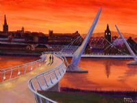 SUNSET ON PEACE BRIDGE by Sean Loughrey at Ross's Auctions