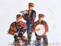 FLUTE, FIDDLE & BODHRAN PLAYERS by Darren Paul at Ross's Auctions