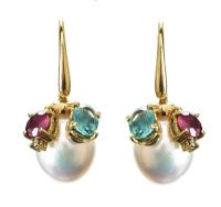 18CT GOLD PEARL AND COLOURED TOURMALINE EARRINGS at Ross's Jewellery Auctions