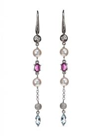 18CT WHITE GOLD DIAMOND, AQUAMARINE, PEARL AND PINK SAPPHIRE EARRINGS at Ross's Auctions