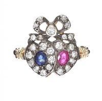 GOLD SAPPHIRE AND RUBY DOUBLE HEART RING at Ross's Auctions