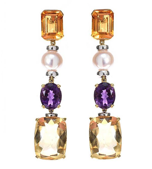 18CT GOLD CITRINE, AMETHYST AND PEARL DROP EARRINGS at Ross's Online Art Auctions