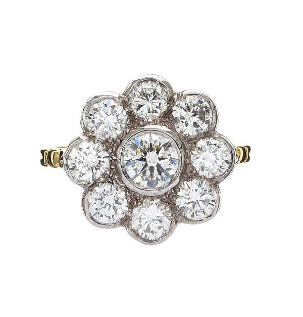 18CT GOLD DIAMOND DAISY CLUSTER RING at Ross's Online Art Auctions