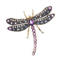 SILVER GILT AMETHYST, SAPPHIRE AND DIAMOND DRAGONFLY BROOCH at Ross's Auctions