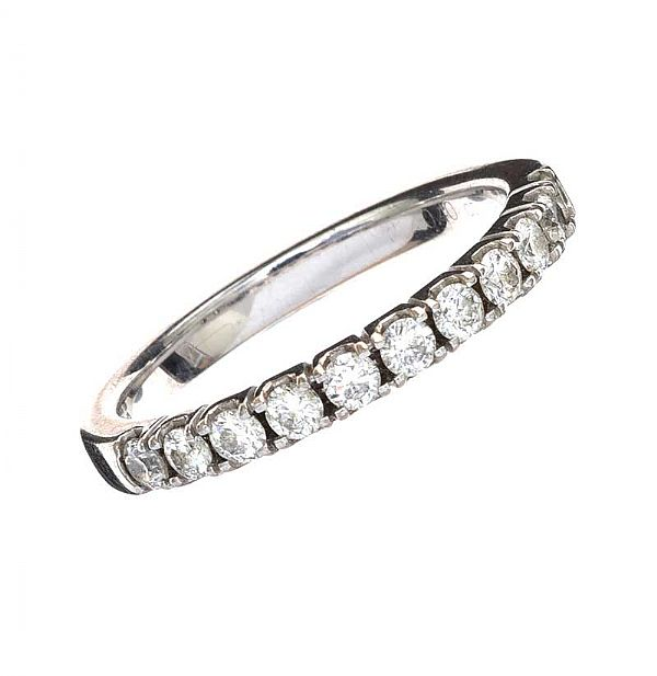 18CT WHITE GOLD DIAMOND BAND at Ross's Online Art Auctions