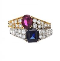 18CT GOLD AND WHITE GOLD RUBY AND SAPPHIRE RING at Ross's Auctions