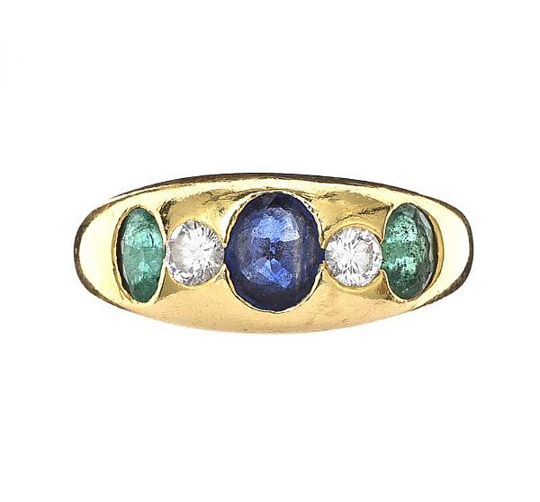 18CT GOLD SAPPHIRE, EMERALD AND DIAMOND RING at Ross's Online Art Auctions