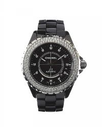 CHANEL 'J12' BLACK CERAMIC DIAMOND-SET LADY'S WRIST WATCH by Wrist Watches at Ross's Auctions