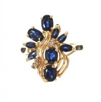 14CT GOLD SAPPHIRE AND DIAMOND DRESS RING at Ross's Auctions