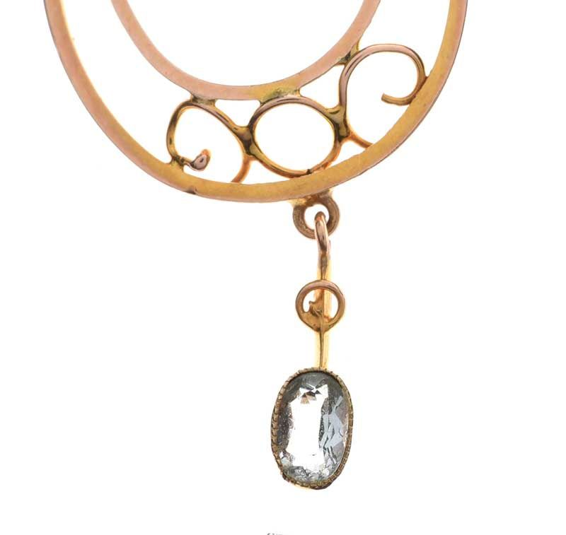 9CT GOLD AQUAMARINE AND SEED PEARL NECKLACE at Ross's Online Art Auctions