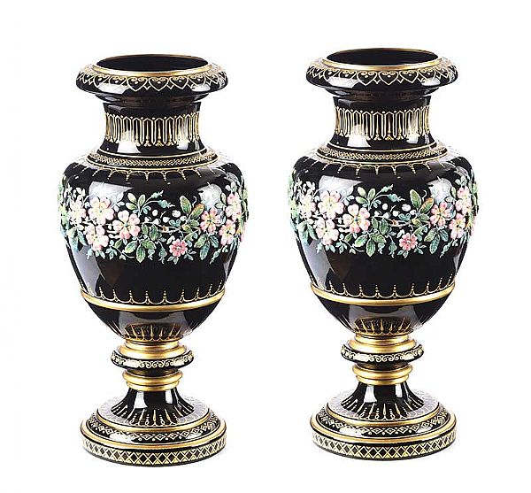 PAIR OF VICTORIAN GLASS VASES at Ross's Online Art Auctions