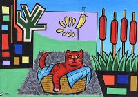 RED CAT IN A BASKET by George Smyth at Ross's Auctions