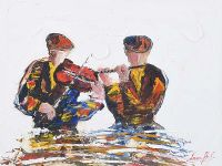 THE VIOLIN & FLUTE PLAYERS by Darren Paul at Ross's Auctions