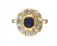 18CT GOLD SAPPHIRE AND DIAMOND CLUSTER RING at Ross's Auctions