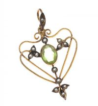 EDWARDIAN 9CT GOLD PERIDOT AND PEARL PENDANT at Ross's Jewellery Auctions