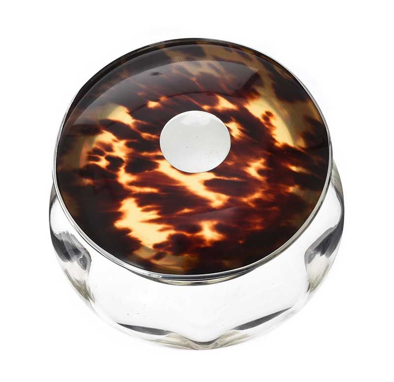 STERLING SILVER AND TORTOISESHELL POWDER BOWL at Ross's Online Art Auctions