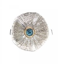 WILLIAM HAWKES 9CT WHITE GOLD BLUE ZIRCON URCHIN RING by Cubic Zirconia at Ross's Auctions