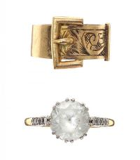 18CT GOLD DRESS RING AND SILVER GILT BUCKLE RING at Ross's Jewellery Auctions