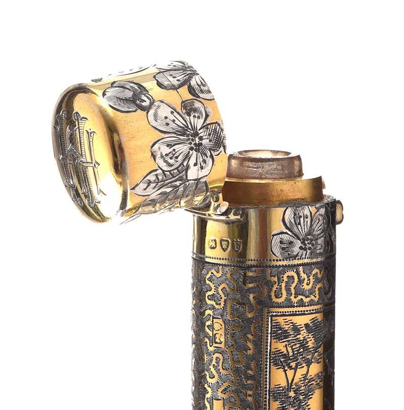 STERLING SILVER GILT PERFUME BOTTLE IN FITTED BOX at Ross's Online Art Auctions