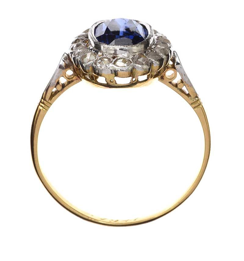 18CT GOLD BLUE GLASS AND DIAMOND RING at Ross's Online Art Auctions