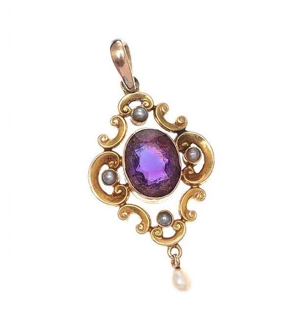 GOLD AMETHYST AND SEED PEARL PENDANT at Ross's Online Art Auctions